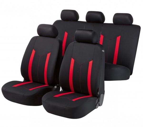 Autositzbezug Schonbezug, Komplett Set, Mazda 121, Schwarz, Rot