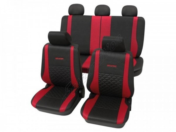 Sitzbezug Schonbezug Exclusiv Lederlook-Optik, Komplett-Set, Renault Rapid, Anthrazit Schwarz Rot
