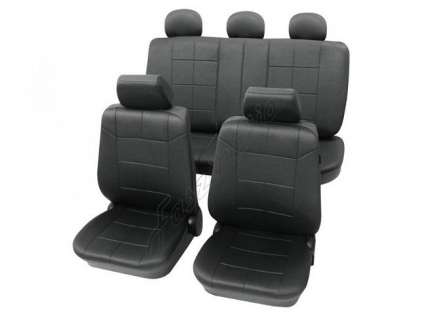 Autositzbezug Schonbezug Lederlook-Optik, Komplett-Set, Alfa Romeo 145, Schwarz Anthrazit
