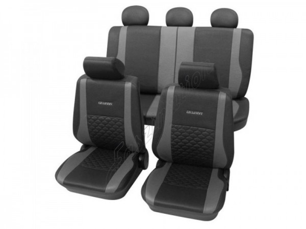 Sitzbezug Schonbezug Exclusiv Lederlook-Optik, Komplett-Set, Renault Rapid, Anthrazit Schwarz Grau