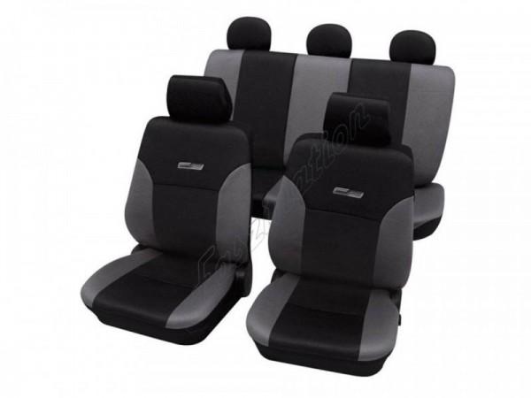 Autositzbezug Schonbezug Lederlook-Optik, Komplett-Set, Alfa Romeo 75, Grau Schwarz Anthrazit