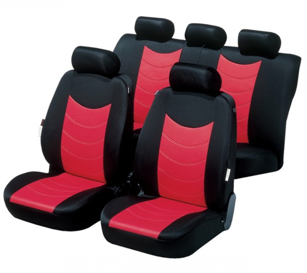 autositzbezug schonbezug komplett set nissan micra rot schwarz. Black Bedroom Furniture Sets. Home Design Ideas