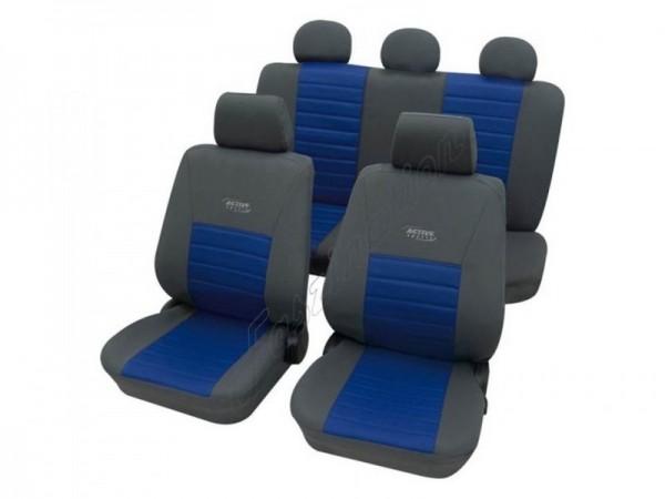 Autositzbezug Schonbezug, Komplett-Set, Peugeot 4007, Grau Blau Anthrazit