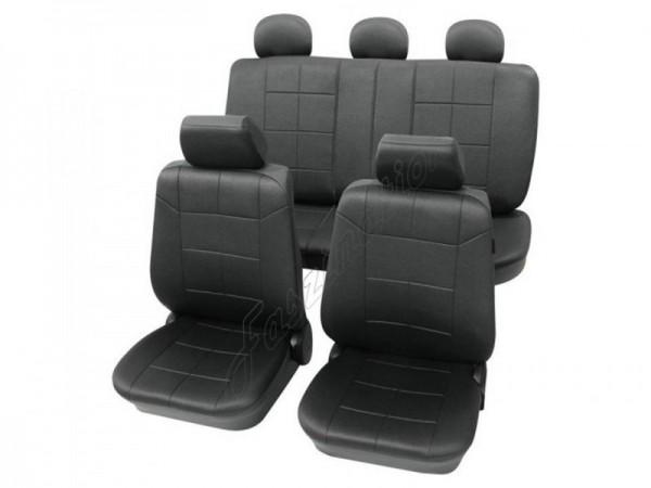 Autositzbezug Schonbezug Lederlook-Optik, Komplett-Set, Alfa Romeo 75, Schwarz Anthrazit