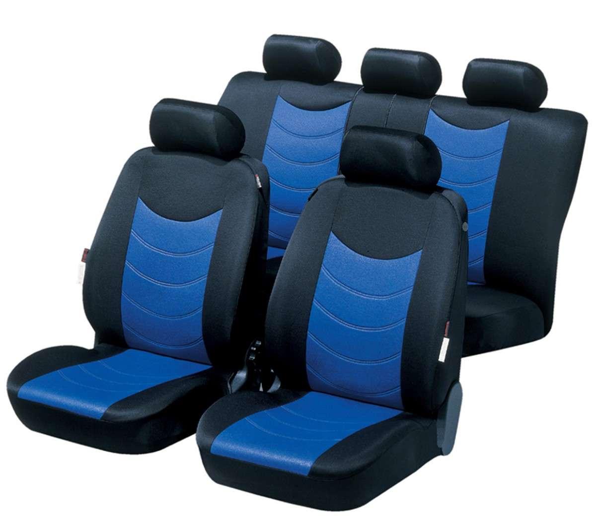 Schwarz-blaue Velours Sitzbezüge für HYUNDAI i30 Autositzbezug Komplett