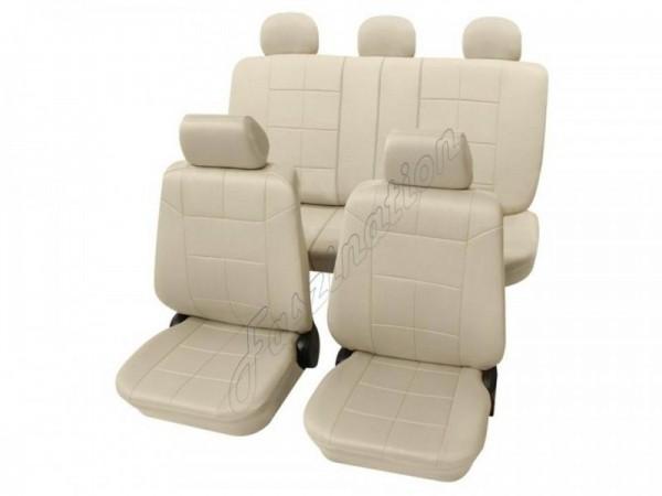 Autositzbezug Schonbezug Lederlook-Optik, Komplett-Set, Alfa Romeo 156, Beige Creme