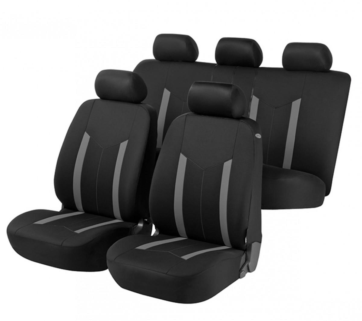 autositzbezug schonbezug komplett set nissan micra schwarz grau. Black Bedroom Furniture Sets. Home Design Ideas