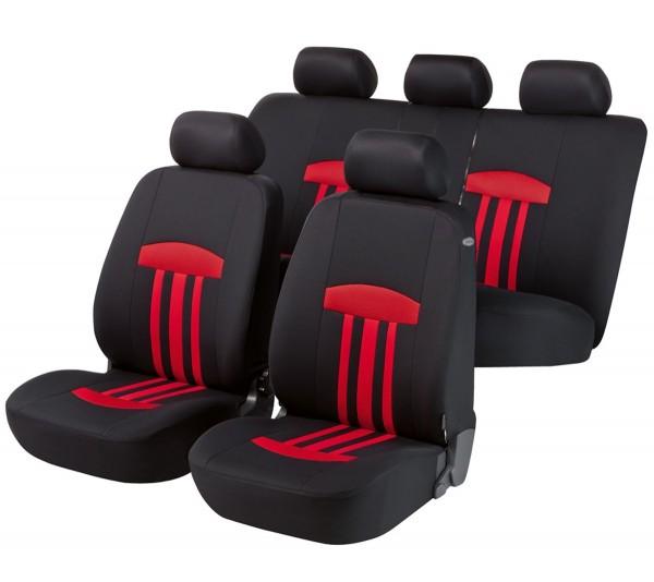 Autositzbezug Schonbezug, Komplett Set, Fiat Punto, Schwarz, Rot