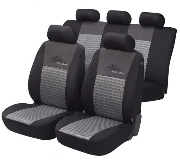 Autositzbezug Schonbezug, Komplett Set, Seat Ibiza, Schwarz, Grau