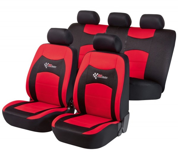 Autositzbezug Schonbezug, Komplett Set, Landrover Freelander, Schwarz, Rot