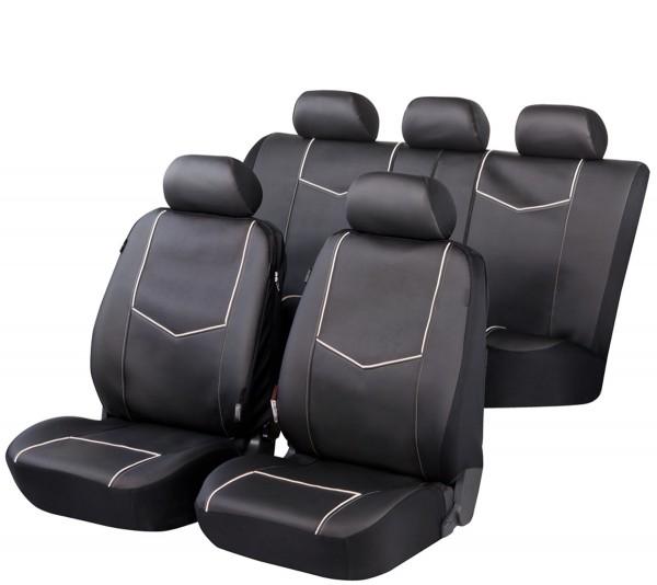 Autositzbezug Schonbezug, Kunstleder, Komplett Set, Toyota Yaris, Schwarz