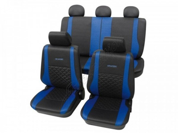 Sitzbezug Schonbezug Exclusiv Lederlook-Optik, Komplett-Set, Renault Rapid, Anthrazit Schwarz Blau