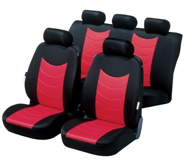 Autositzbezug Schonbezug, Komplett Set, Peugeot 407, Rot, Schwarz