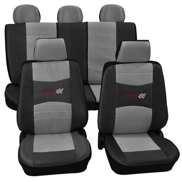 Autositzbezug Schonbezug, Komplett-Set, Peugeot 207, Grau Silber
