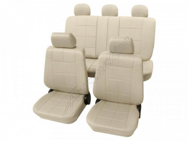Autositzbezug Schonbezug Lederlook-Optik, Komplett-Set, Alfa Romeo 75, Beige Creme