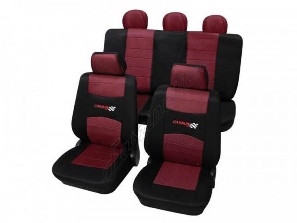 Autositzbezug Schonbezug, Komplett-Set, Peugeot 309, Rot Schwarz