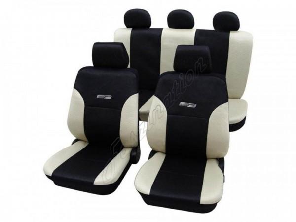 Autositzbezug Schonbezug Lederlook-Optik, Komplett-Set, Opel Corsa C, Creme Beige Schwarz